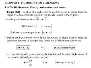 CHAPTER 4 : MOTION IN TWO DIMENSIONS 4.1) The Displacement, Velocity, and Acceleration Vectors