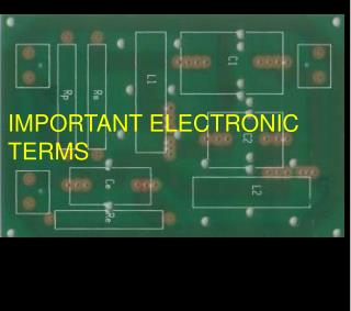 IMPORTANT ELECTRONIC TERMS