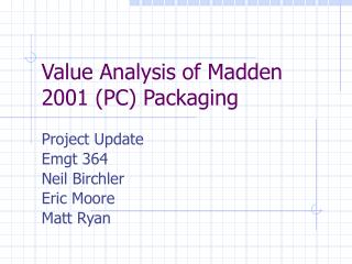 Value Analysis of Madden 2001 (PC) Packaging