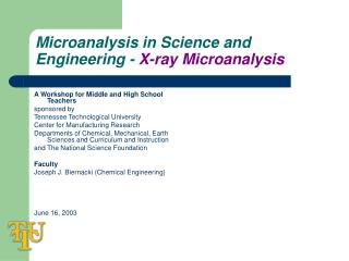 Microanalysis in Science and Engineering -  X-ray Microanalysis