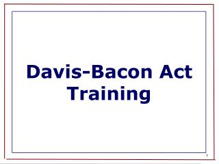 Davis-Bacon Act Training