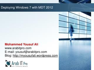 Deploying Windows 7 with MDT 2012