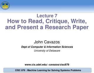 John Cavazos Dept of Computer & Information Sciences University of Delaware