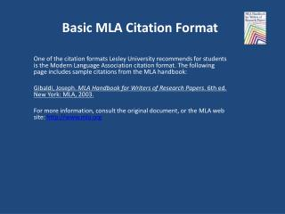 Basic MLA Citation Format