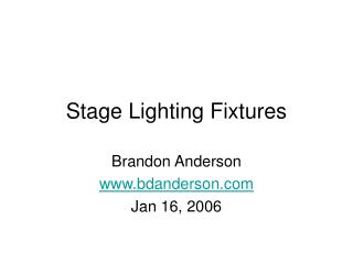 Stage Lighting Fixtures