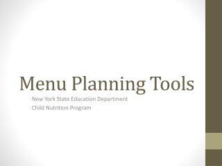 Menu Planning Tools