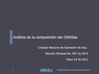 Análisis de la composición del  CNOGas