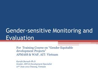 Gender-sensitive Monitoring and Evaluation