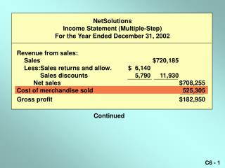 NetSolutions Income Statement (Multiple-Step) For the Year Ended December 31, 2002
