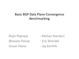 Basic BGP Data Plane Convergence Benchmarking