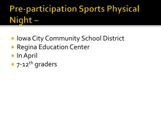 Pre-participation Sports Physical Night