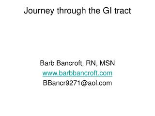 Journey through the GI tract