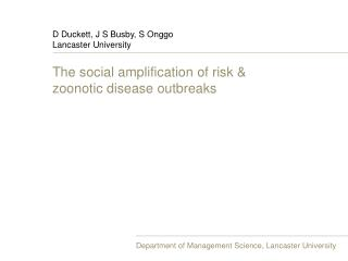 The social amplification of risk & zoonotic disease outbreaks