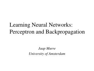 Learning Neural Networks: Perceptron and Backpropagation