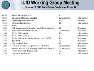 IUID Working Group Meeting October 29 2013 Mark Center Conference Room 14