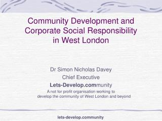 Community Development and Corporate Social Responsibility in West London