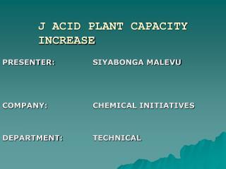 J ACID PLANT CAPACITY INCREASE