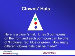 Here is a clown s hat.  It has 3 pom-poms  on the front and each pom-pom can be one  of 3 colours, red, blue or green.