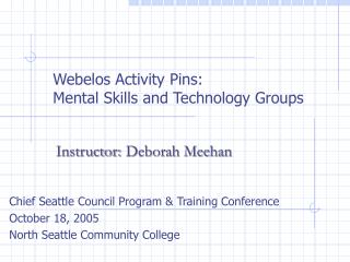 Webelos Activity Pins: Mental Skills and Technology Groups