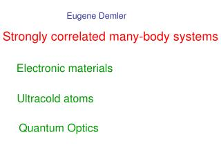 Strongly correlated many-body systems