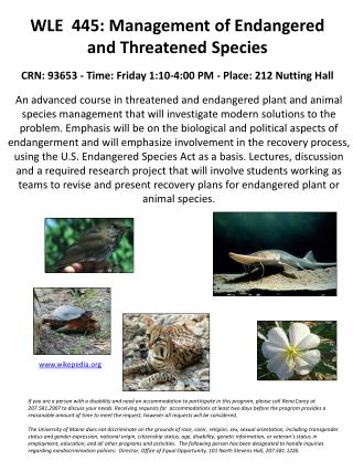 WLE 445: Management of  Endangered  and Threatened Species