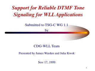 Support for Reliable DTMF Tone Signaling for WLL Applications