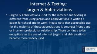 Internet & Texting:  Jargon & Abbreviations