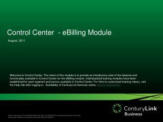 Control Center  - eBilling Module