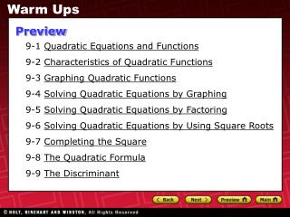 9-1  Quadratic Equations and Functions 9-2  Characteristics of Quadratic Functions