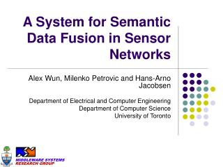A System for Semantic Data Fusion in Sensor Networks
