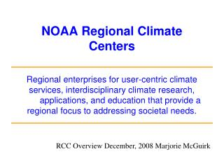 NOAA Regional Climate Centers