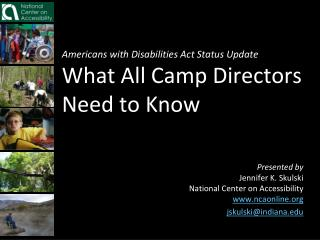 Americans with Disabilities Act Status Update What All Camp Directors Need to Know
