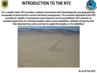 INTRODUCTION TO THE NTC