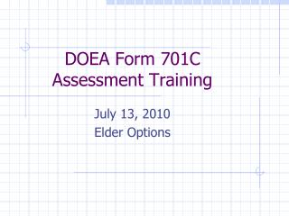 DOEA Form 701C  Assessment Training
