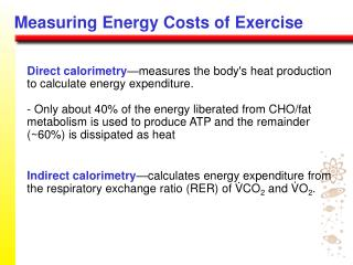 Measuring Energy Costs of Exercise