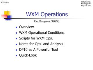 WXM Operations