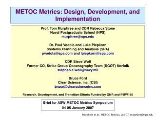 METOC Metrics: Design, Development, and Implementation