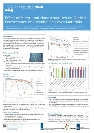 Effect of Micro- and Nanostructures on Optical  P erformance of Greenhouse Cover Materials