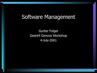 Software Management