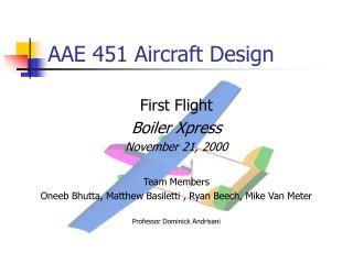 AAE 451 Aircraft Design