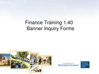 Finance Training 1.40   Banner Inquiry Forms