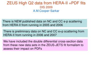 ZEUS High Q2 data from HERA-II +PDF fits DIS 2009  A.M.Cooper-Sarkar