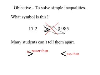 Objective - To solve simple inequalities.