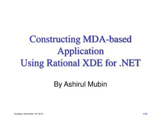 Constructing MDA-based Application  Using Rational XDE for .NET