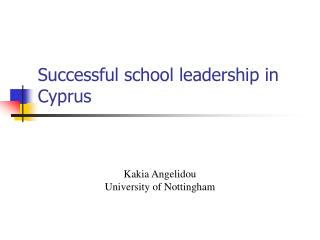 Successful school leadership in Cyprus