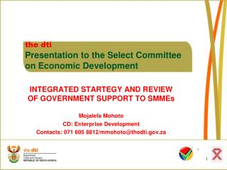 the dti Presentation to the Select Committee  	on Economic Development