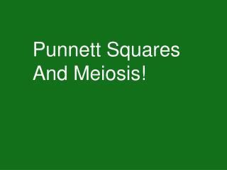 Punnett Squares And Meiosis!
