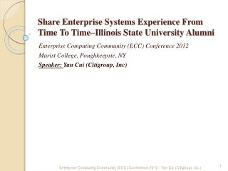 Share Enterprise Systems Experience From Time To Time–Illinois State University Alumni