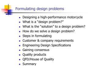 Formulating design problems