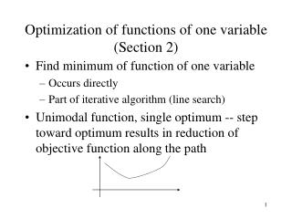 Optimization of functions of one variable (Section 2)